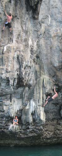 Lisa and Tod Deep Water Soloing in Thailand