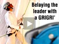 Belaying the leader with a GRIGRI