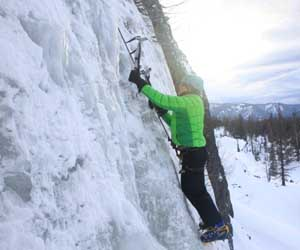 Melissa climbing ice at Strobach Mountain